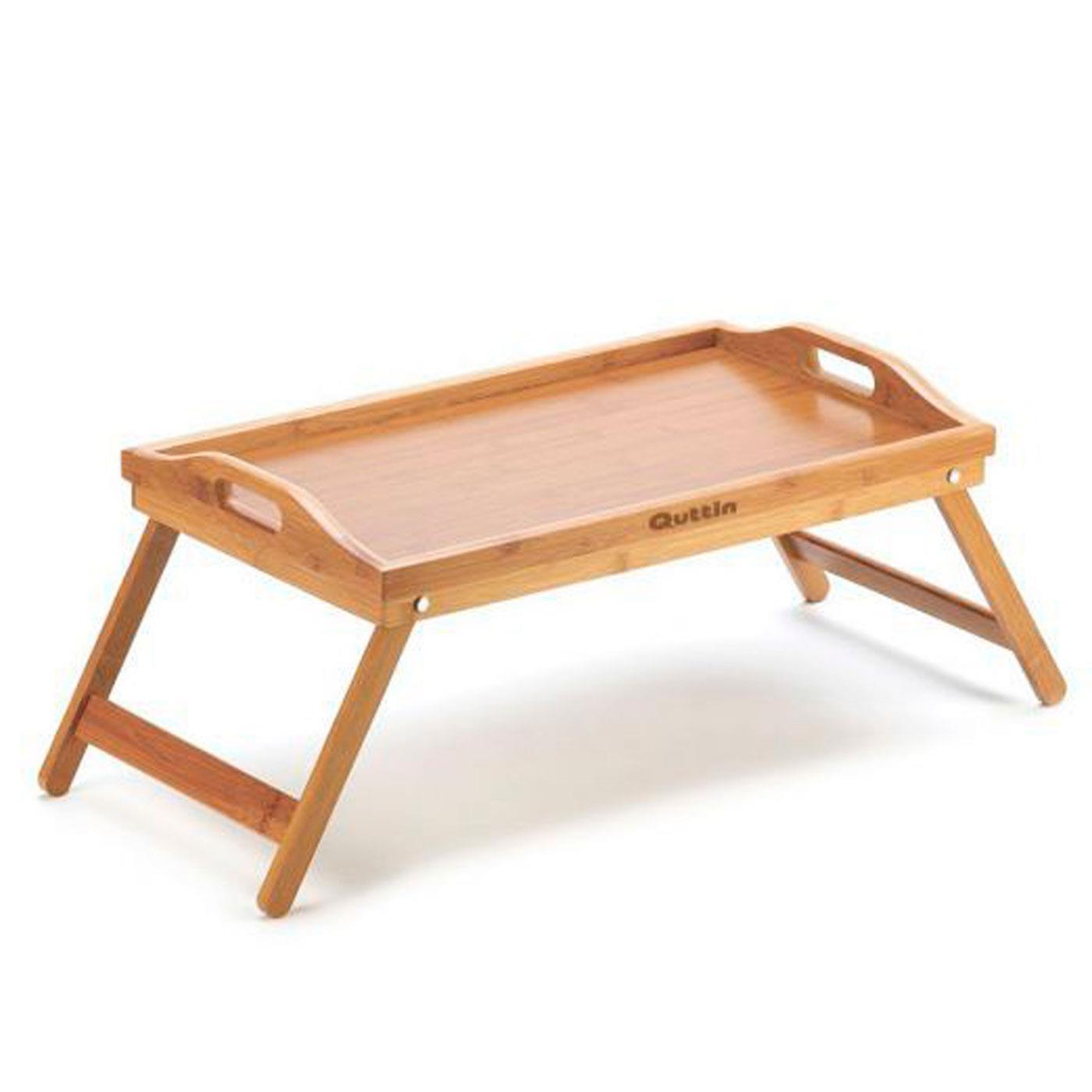Quttin - Bandeja de cama plegable de bambú 49 x 29,5 cm....
