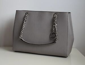 MICHAEL-KORS-Damen-Tasche-LG-TOTE-Leder-Modell-SUSANNAH-pearl-grey-Neu