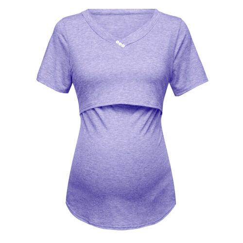 Women Short Sleeve Pure Colour Soft Tops Breastfeeding Nursing Maternity Clothes