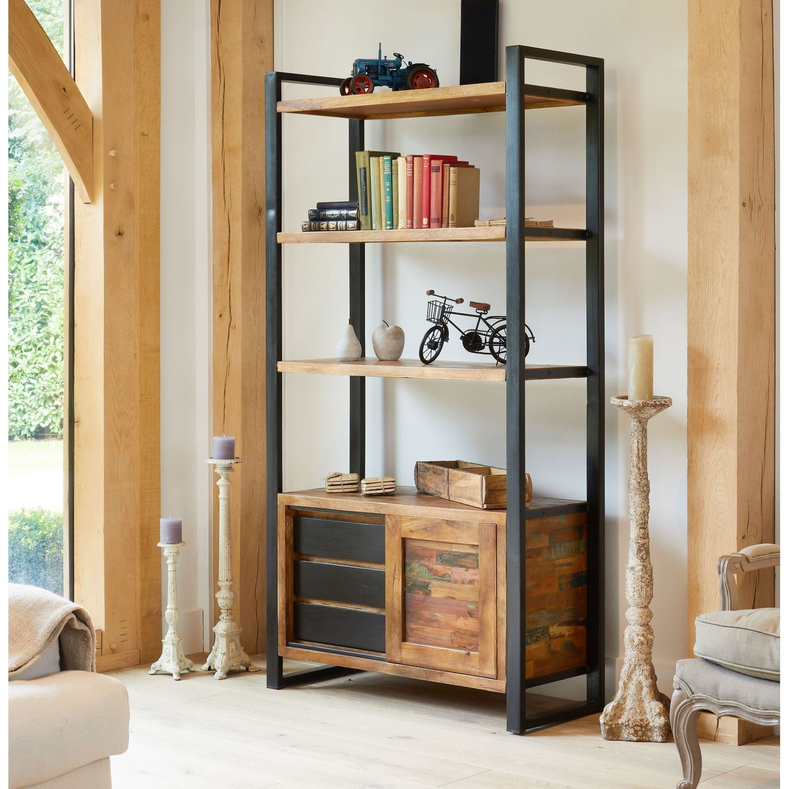 Agra Reclaimed Wood Furniture Large Open Storage Bookcase