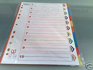 Lot-Of-10-A4-Subject-Dividers-Multicoloured-10-PART