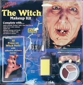 Witch Hag Old Lady Make Up Kit Halloween Face Paint Set Fancy Dress