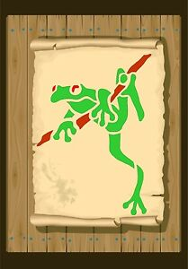 Tree-Frog-on-a-branch-Stencil-350-micron-Mylar-not-thin-stuff-Frog01