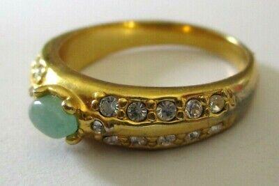Colto Élégante Bague Rhodié Or Cristaux Diamant Jade Véritable Bijou Vintage Taille 58 Risparmia Il 50-70%