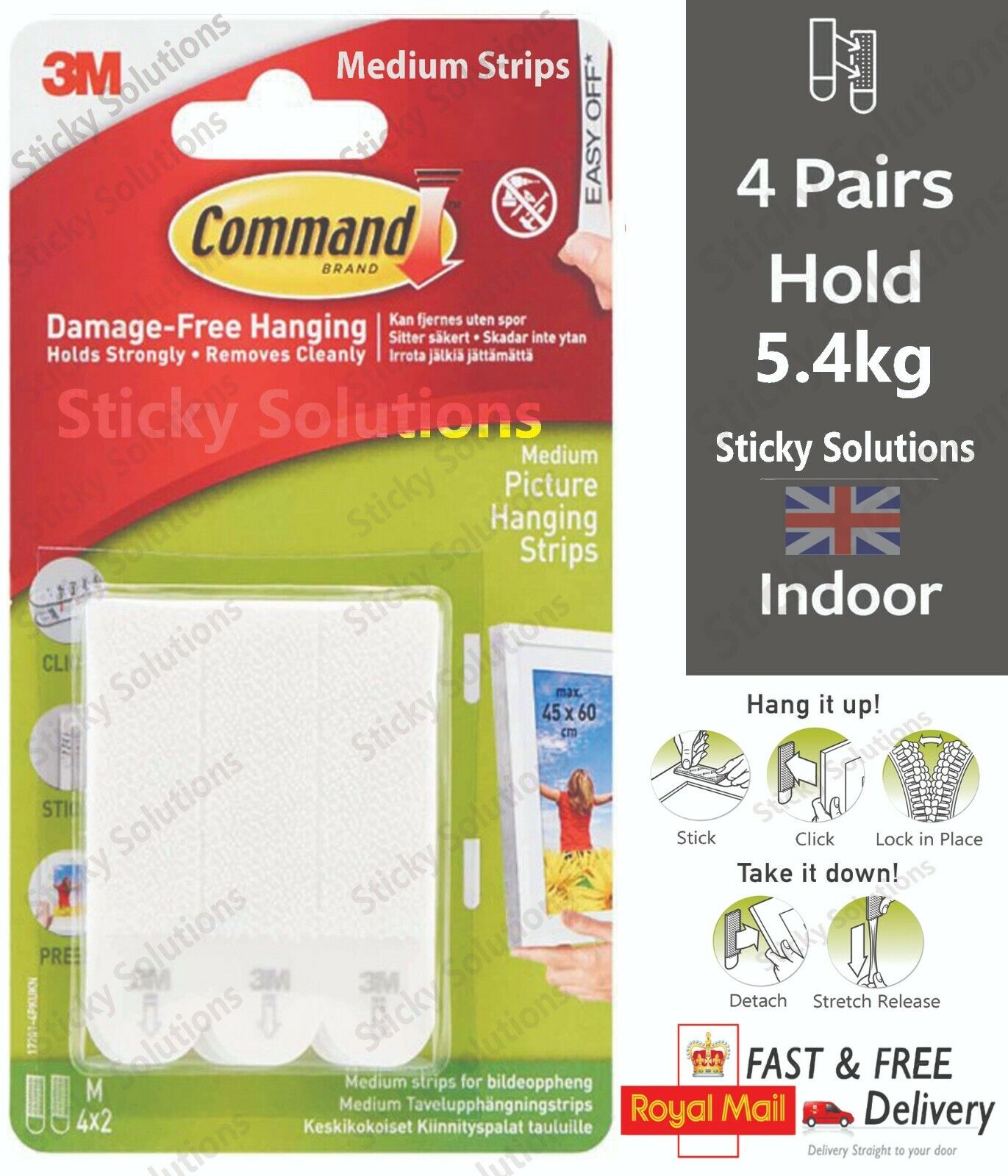 3M Command™ Picture Frame Hanging Strips Adhesive Stick on Strips Damage Free