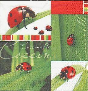 La Fourniture 2 Serviettes En Papier Coccinelle Decoupage Paper Napkins Ladybugs