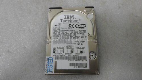"""IBM IC25N040ATCS04-0 07N9319 40GB 4200RPM IDE 2.5/"""" Hard Drive TESTED"""
