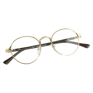 833f0737713 Vintage Men Gold Oval Eyeglass Frame Women Plain Glass Clear Full ...