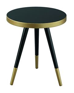 Santana Mid Century Modern Style Side Table W Gold Hued Ring And