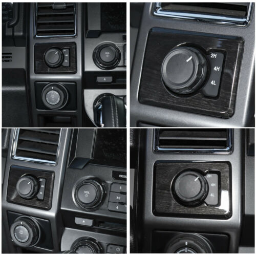 Black Grain 4WD Four Wheel Drive Switch Trim Bezel Cover for Ford F150 2015-2019