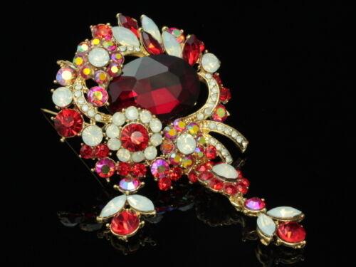 Rouge Rubis Cristal Opale Blanc Dangle Fleur Strass Or Broche Broche Pendentif F94