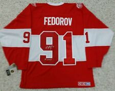 SERGEI FEDOROV Signed 2014 Winter Classic Detroit Red Wings CCM Alumni Jersey