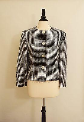 NWOT LAUREN Ralph Lauren Line Silk White Black Houndstooth Blazer Jacket Size 14