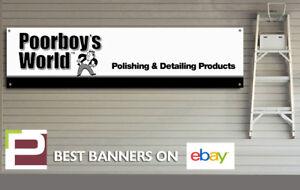 Poorboy's World Polish & Detailing Banner, for Workshop, Garage, Office etc