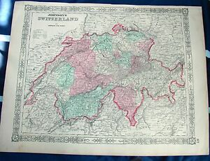 Antique 1864 Map Johnsons Switzerland Us Civil War Era Ebay - Us-map-civil-war-era