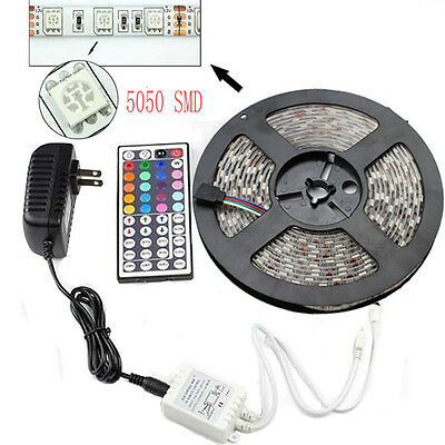 5M SMD RGB 5050 Waterproof LED Strip light 300 & 44 Key Remote &12V Supply Power