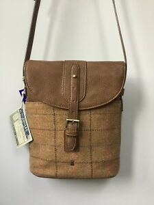 ac9d7a56be3a Details about BNWT Gorgeous Ladies Joules Tan Tourer Check Tweed Cross Body  Bag, Tagged