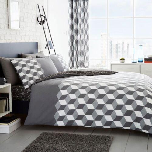 2 in 1 Design Cubix Geometrisch Grau Doppelbett Bezug Set Bettwäsche
