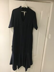 Details about ASOS Tall Navy Blue Midi Pep Hem Dress With Collar  Size 14   BNWT RRP £38