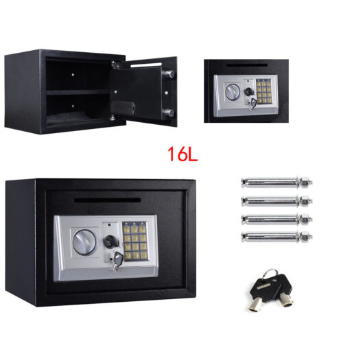MINI 16L STEEL SAFE DIGITAL KEY ELECTRONIC SECURITY HOME OFFICE MONEY SAFETY BOX