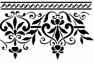 ornament stencil wand schablone greca decor barock damask xl wandschablone neu ebay. Black Bedroom Furniture Sets. Home Design Ideas