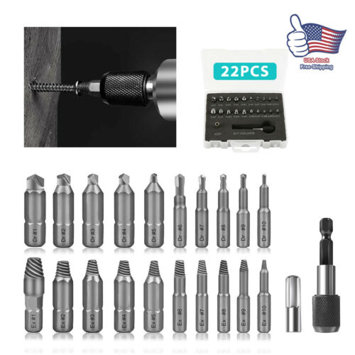 22 Pcs Damaged Screw Extractor Speed Out Drill Bits Tool Set Broken Bolt Remover