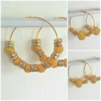 New Big Gold Plated Basketball Wives Style Large Hoop Poparazzi Bling Earrings