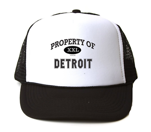 Trucker Hat Cap Foam Mesh USA City Property Of Detroit