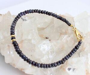 Natural Sapphire Bracelet Blue Rondelle Saphirarmband Noble ca.19, 5 CM