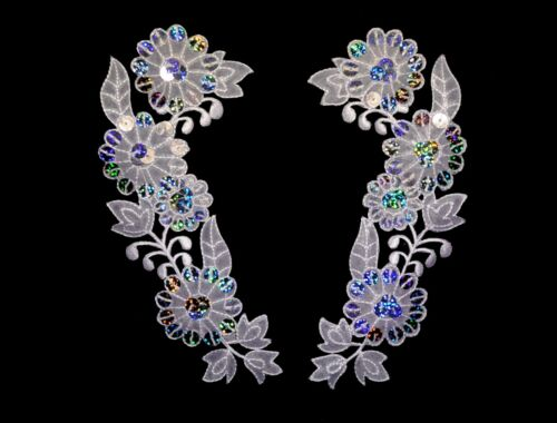 "Unotrim 6x2.5/"" White Organza Floral Collar Lace Pair Silver Laser Patch Applique"