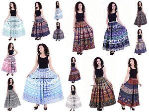 81bb816f6 Image is loading Indian-Women-Mandala-Rapron-Printed-Cotton-Long-Skirt-
