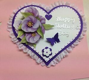 PK 2 LILAC ROSES TOPPER EMBELLISHMENTS WITH LOVE ON MOTHERS DAY FOR CARDS