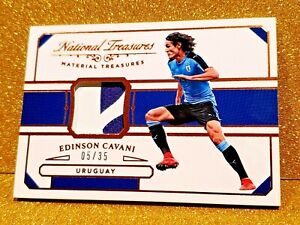 2018-Edinson-Cavani-National-Treasures-Material-Jersey-Card-35-MT-EC-URUGUAY