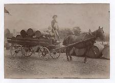 PHOTO ANCIENNE Voiture à cheval Attelage Tonneau Vignoble Vin ? 1900 Charrette