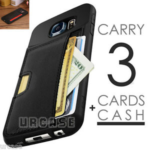 Leather-Card-Wallet-Slot-Flip-Holder-Case-Cover-For-Samsung-Galaxy-S6-Edge