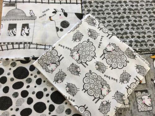 Corral Animales diseño 100/% Algodón Cuarto Gordo paquete 5 telas Craft//quilting