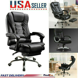 NEW Video Gaming Chair SEAT Leather Office Recliner W// Footrest PS4 XBOX PC 2019