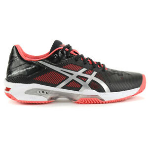 ASICS Women's GEL-Solution Speed 3 Clay Black/Pink Tennis Shoes E651N.9093 NEW!