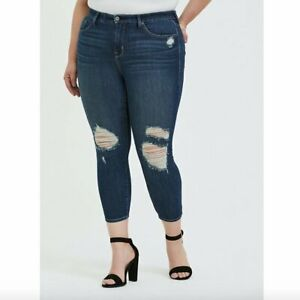 NEW TORRID Crop Sky High Waisted Rise Skinny Jean Stretch Dark Ripped Ankle 18 R