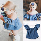 Toddler Baby Girls Kids Blouse Outfits Tops T-shirt Demin Short Sleeve Clothes