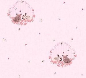 Vliestapete-Kinder-Hasen-Katzen-schmetterlinge-rosa-metallic-Maedchen-35564-1