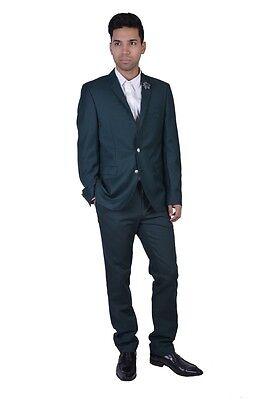 "Hugo Boss ""Rod"" 100% Virgin Wool Dark Green Flower Decorated Suit US 40R IT 50R"