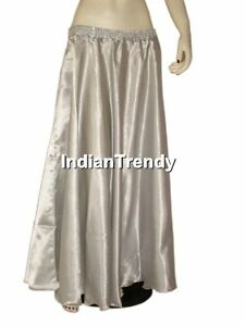 Silver-Satin-Skirt-Belly-Dance-Costume-Gypsy-Maxi-Dress-4-5-Yard-Half-Circle