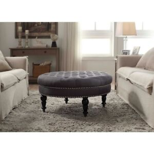 Fine Details About Living Room Furniture Round Upholstered Nailhead Seat Foot Stool Accent Ottoman Andrewgaddart Wooden Chair Designs For Living Room Andrewgaddartcom