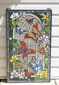 Ebay Stained Glass Panels.Details About 20 X 34 Large Handcrafted Stained Glass Window Panel Butterfly Garden Flower