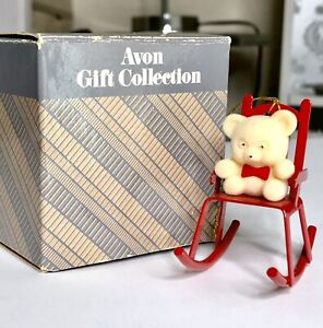 1985-Vintage-Avon-Christmas-Teddy-Bear-Ornament-Collection-Teddy-On-Rocker
