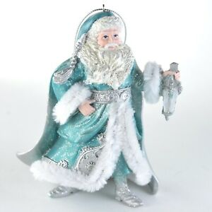 Teal-Snow-King-Santa-with-Lantern-Christmas-Ornament-NEW