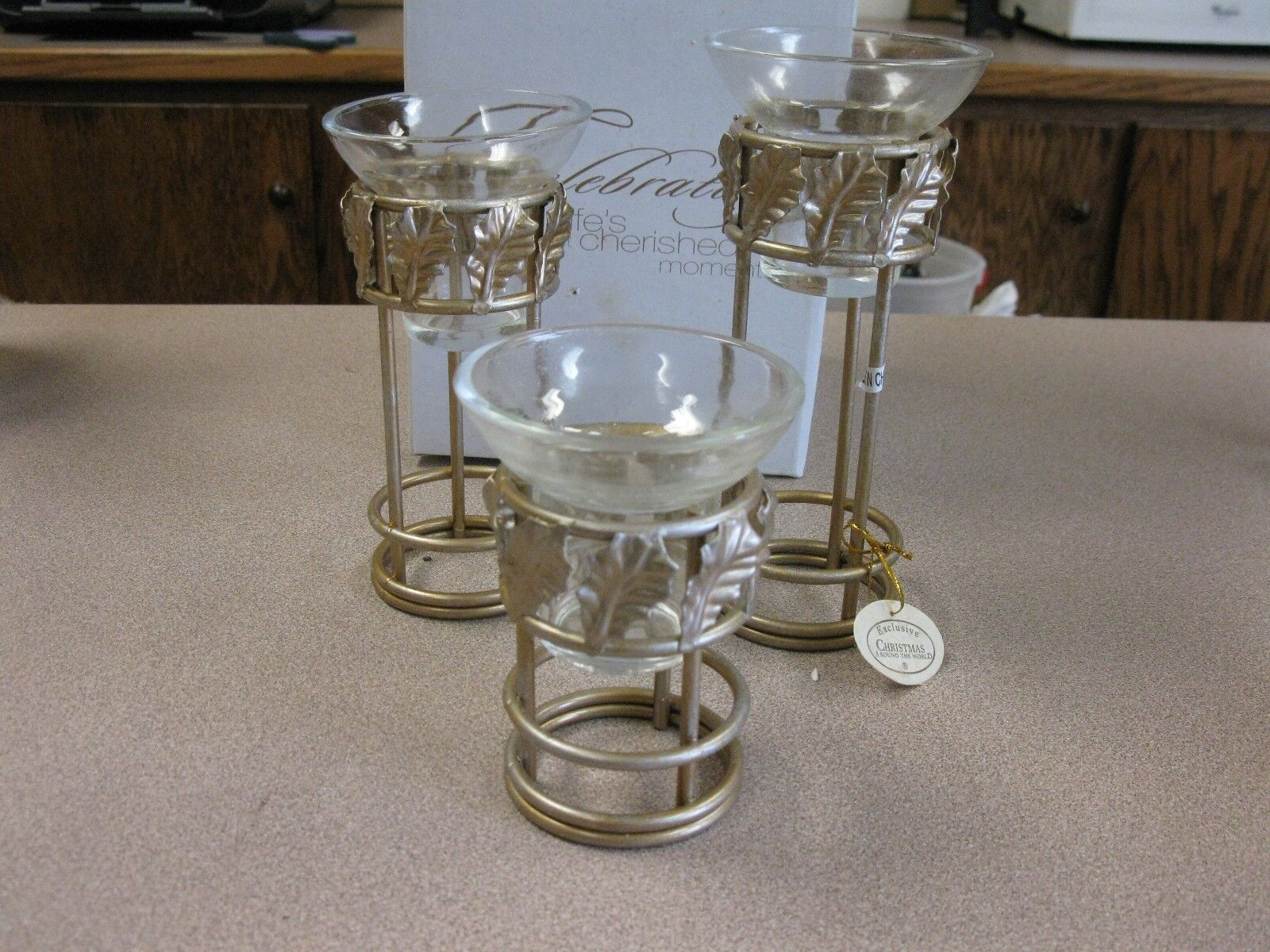 CHRISTMAS AROUND THE WORLD GoldEN HOLLY VOTIVE  CANDLE HOLDERS