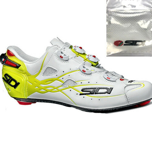 New SIDI SHOT Matt Carbon Road Bike Cycling scarpe Matte bianca giallo Fluo