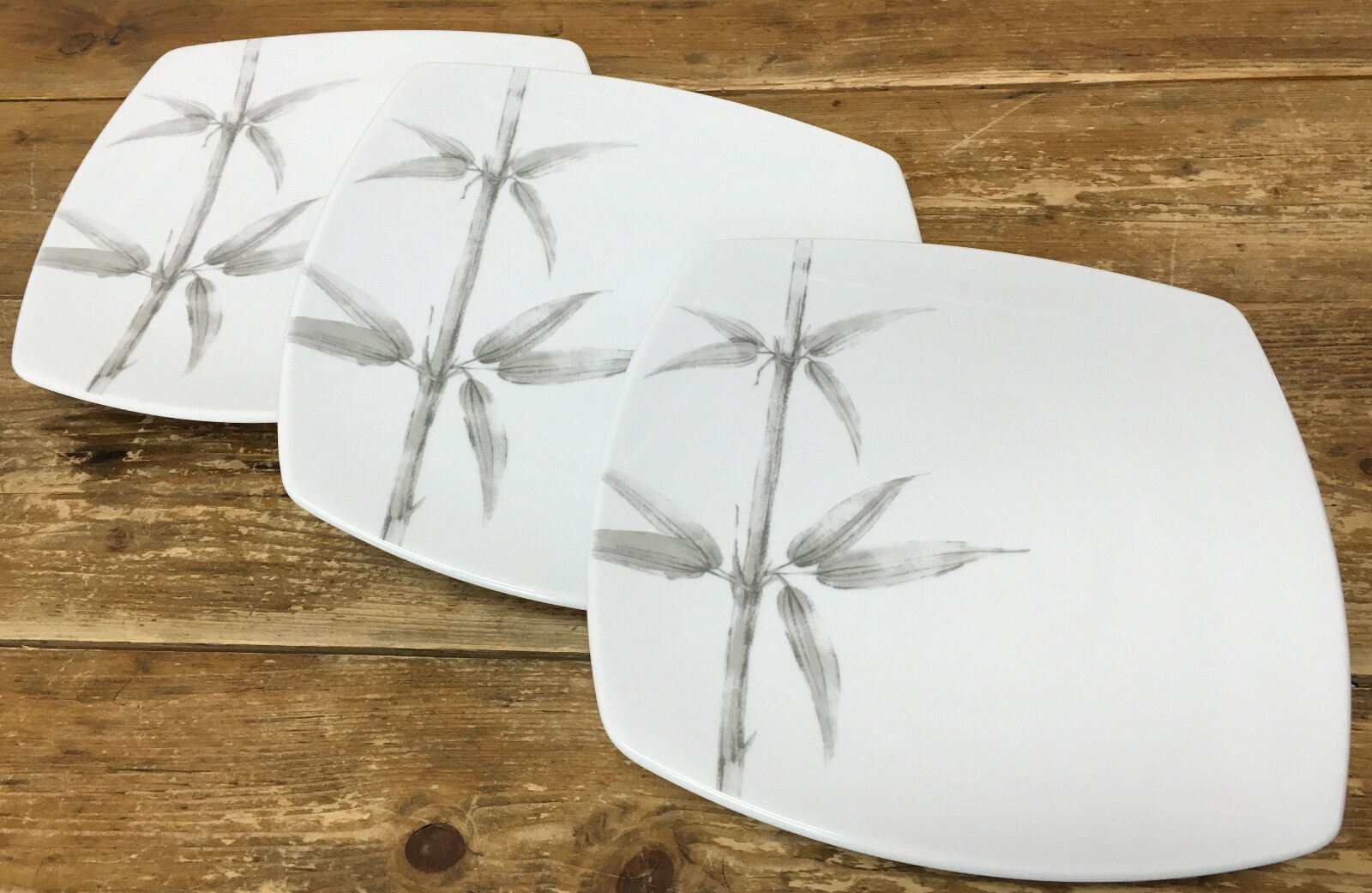 Studio Nova Silber Bamboo Y0814 Weiß Quadratisch 3 Essteller Grau Feines     | ein guter Ruf in der Welt